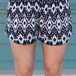 Abstract Dolphin Shorts {Black + White}