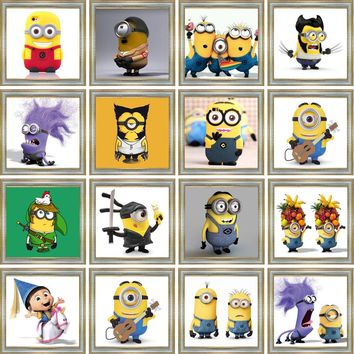 Minions 5D DIY Diamond Painting Full Mosaic Cartoon Rhinestone Cross Stitch Kit Embroidery Patterns Wall Sticker Home Decor