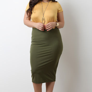 Solid Stretchy Midi Pencil Skirt