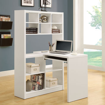 Monarch Specialties White Hollow Core Left/Right Facing Desk and Shelf Combo