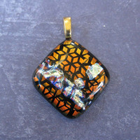 Orange Dichroic Pendant, Fused Glass Pendant, OOAK Omega Slide, Artisan Jewelry - Gift Wrapped - 3482 -2