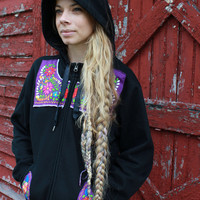 Mexican Embroidered Flower Eco Chic Bohemian Hippie Upcycled Black Purple Zip Up Hoodie Hooded Sweatshirt Sweater Size Large Festival