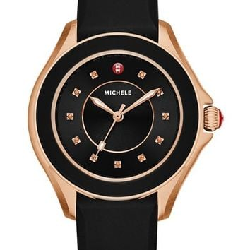 MICHELE 'Cape' Topaz Dial Silicone Strap Watch, 34mm | Nordstrom