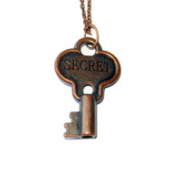 Engraved Copper Secret Key Charm Necklace