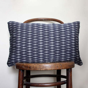 Indigo Ikat Decorative Pillow. Recycled Vintage Kimono Wool and Natural Linen Sofa Cushion. Tribal Geometric Print