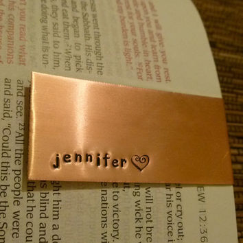 Name With a Heart Stamp Bookmark - Hand Stamped Copper