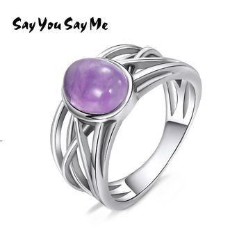 Say You Say Me 925 Sterling Silver Big Natural Stone Rings Wedding&Engagement Luxury  Rings 2018  New Arrival Best Gifts