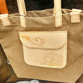woman's canvas and leather shoulder bag