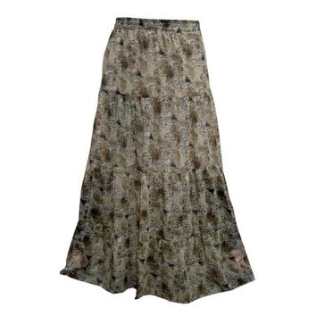 Mogul Women's Vintage Skirt Brown Printed Maxi Skirts - Walmart.com