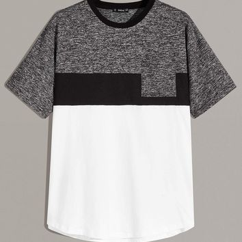 Men Pocket Patched Cut-and-Sew Marled Panel Top