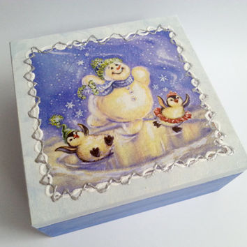 Gift for her christmas tea box snowy painted wooden box decoupage gift idea jewelry tea box snowman penguins gift for child