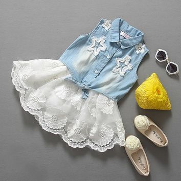 VORO BEVE 2017 New Summer Girls Jeans Clothing Sets Kids Tutu Skirt Suit For Girl Children Clothes