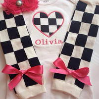 Baby Girl Race Day Outfit - checkered outfit - personalized baby outfit - baby girl photo prop
