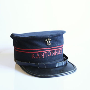 Antique Kantonnier hat, vintage Belgian road worker cap, antique police hat, size 57 antique hat, military officer hat, uniform clothes