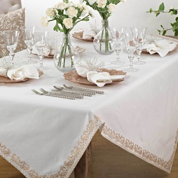 Gold Scroll Print Tablecloth | 72-Inch Square