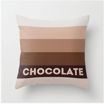 Chocolate fall pillow 16x16 Decorative throw pillows autumn colors brown beige pillow cover home decor decoration food