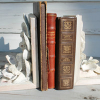 Oyster Shell Bookends/Reclaimed Wood Bookends/Coastal Home Decor