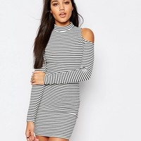 Missguided Cold Shoulder Stripe Bodycon Mini Dress at asos.com