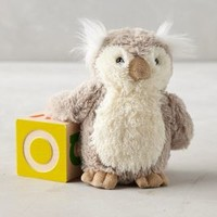 Tufted Owl Stuffed Animal by Anthropologie Light Grey One Size Gifts