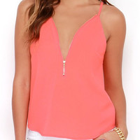 Pink Zipper Design Spaghetti Strap Tank Top