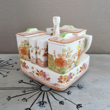 Oriental Tea Caddy Condiment Caddy Oriental Porcelain Vintage Tea Set Tea Caddy Vintage Tea Service Creamer and Sugar Salt and Pepper