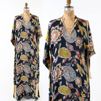 40s Hawaiian Rayon PAKE MUU DRESS / 1940s Navy Floral Pointy Sleeve Maxi
