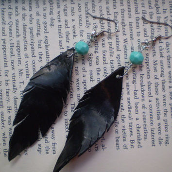 Recycled Black Faux Feather Earrings