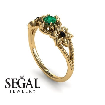 Unique Engagement Ring 14K Yellow Gold Flowers Art Deco Filigree Ring Green Emerald With Black Diamond - Kennedy