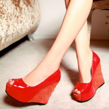 Patent Leather Peep Toe Wedges Sandals Studded Platform Shoes Woman