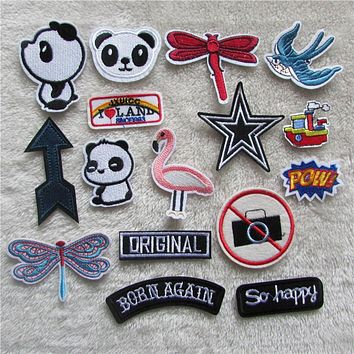 high quality cartoon patter hot melt adhesive applique embroidery patches stripes DIY clothing accessory patch C5166-C5184