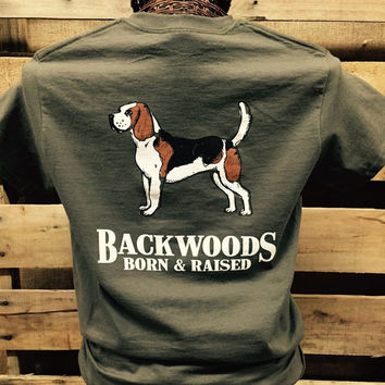 Backwoods Born & Raised Dog Puppy Olive Beagle Bright Unisex T Shirt
