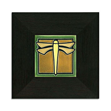 Framed Dragonfly Green Motawi Tile