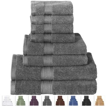8-Piece Bath Towel Set in Soft Luxury 100-Percent Cotton -