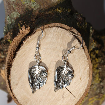 Silver plated earrings Ladybird Leaf dangle earrings Charm jewelry Botanical earrings Gift for friend