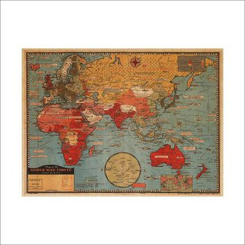CREYUG3 World Map Leather Sea Living Room Wall Sticker [6414269380]