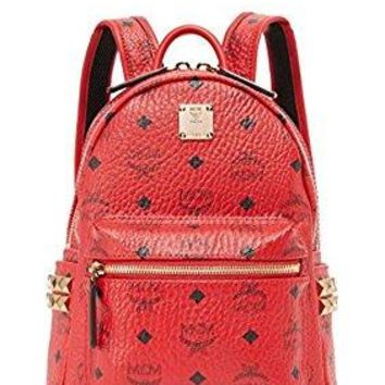 MCM Red Medium Leather Stark Side Studded Visetos Backpack Bag