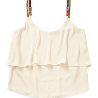 GB Tiered Ribbon Crop Top - Ivory
