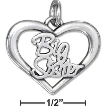STERLING SILVER OPEN HEART BIG SISTER CHARM