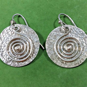 Vintage Navajo John B Begay Jr Monsterslayer Mark Native American Southwest Sterling Silver Dangle Earrings Hammered Textured Round Spiral