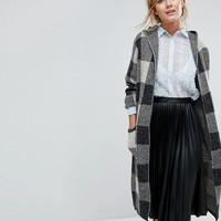 Willow And Paige Longline Cardigan In Knitted Check at asos.com