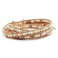 Women's Chan Luu Beaded Leather Wrap Bracelet - White Magnesite Mix
