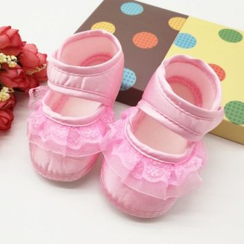 Baby Girls Lace Bow Soft Little Princess Cotton Shoes Heart Pattern Prewalkers Shoes