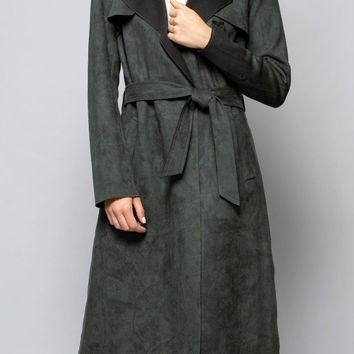 Faux Suede Trench in Forest Green