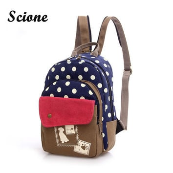 Women Mini Cute Dog Printing Backpack Small Canvas Backpack Chest Pack Girls Kawaii Travel Rucksack Vintage Backpacks JXY509
