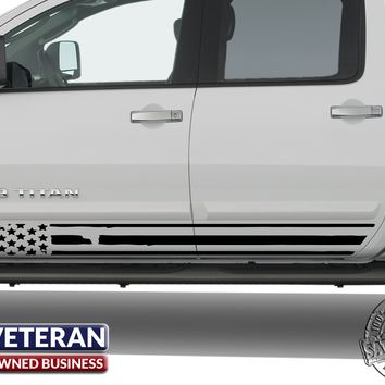 Universal Distressed American Flag Door Runner Set Vinyl Decal Set: Fits Any Dodge Ram Ford Chevy Nissan Toyota