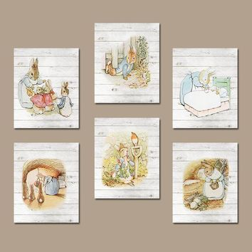 PETER RABBIT Nursery Wall Art, CANVAS or Prints Wood Grain Effect Child Boy Girl Storybook Modern Set of 6 Gallery Baby Wall Decor Pictures