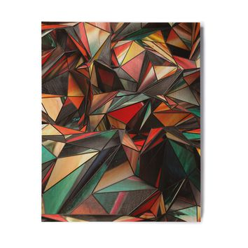 "Danny Ivan ""Triangles"" Multicolor Orange Abstract Contemporary Digital Illustration Birchwood Wall Art"