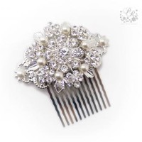 Wedding Hair Comb Swarovski Pearl Rhinestone Bridal hair comb hair accessory by PureRainDesigns