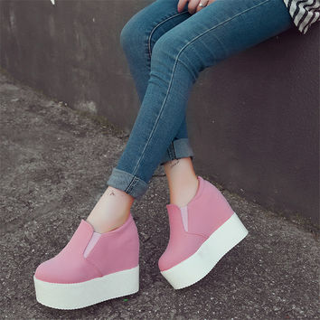 5colors Platform Women Ankle Boots Frosted And Pu Chelsea 2017 Boots Women Shoes Free Shipping New Style High Heels Wedges Boots