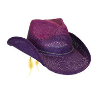 Women's Purple Toyo Straw Summer Cowboy Hat w/ Shapeable Brim by Peter Grimm